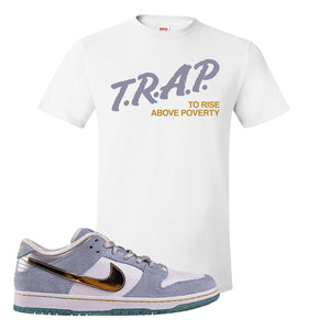 Sean Cliver x SB Dunk Low T Shirt | Trap To Rise Above Poverty, White