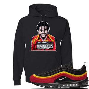 Air Max 97 Black//Chile Red/Magma Orange/White Sneaker Black Pullover Hoodie | Hoodie to match Nike Air Max 97 Black//Chile Red/Magma Orange/White Shoes | Escobar Illustration