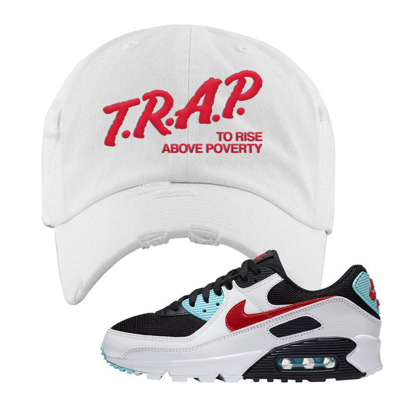 Air Max 90 Bleached Aqua and Chile Red Distressed Dad Hat | White, Trap To Rise Above Poverty