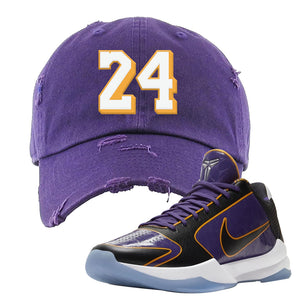 Kobe 5 Protro 5x Champ Distressed Dad Hat | 24, Purple