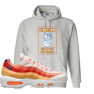 Air Max 95 Orange Snakeskin Hoodie | Caution Snakes, Ash