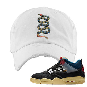 Union LA x Air Jordan 4 Off Noir Distressed Dad Hat | Coiled Snake, White