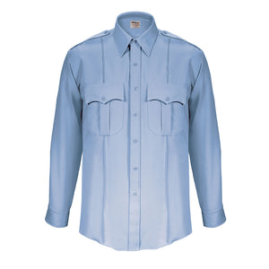 the Firemen Police Public Safety | TexTrop2 Long Sleeve Men's Uniform Shirt | French Blue Moisture Wicking Police Duty Shirt has a generous fit and pleats down the front and back
