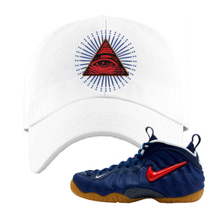 Air Foamposite Pro USA Dad Hat | White, All Seeing Eye