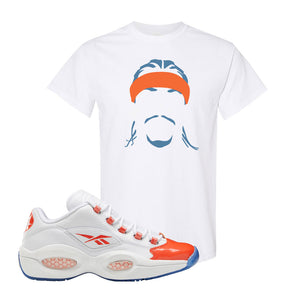 Question Low Vivid Orange T-Shirt | Headband Corn Rows, White