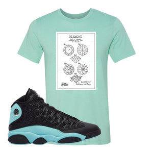 Diamond Patent Heather Mint T-Shirt To Match Jordan 13 Island Green Sneakers