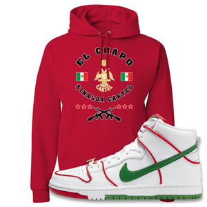 Paul Rodriguez's Nike SB Dunk High Sneaker Red Pullover Hoodie | Hoodie to match Paul Rodriguez's Nike SB Dunk High Shoes | El Chapo