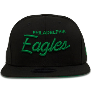 Philadelphia Eagles Retro Script Black 9Fifty Snapback Hat