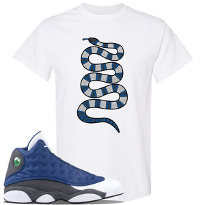 Jordan 13 Flint 2020 Sneaker White T Shirt | Tees to match Nike Air Jordan 13 Flint 2020 Shoes | Coiled Snake