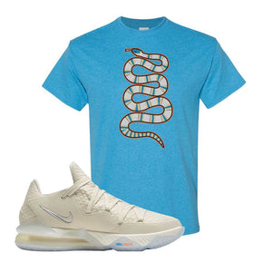 Lebron 17 Low Bone T Shirt | Heather Sapphire, Coiled Snake
