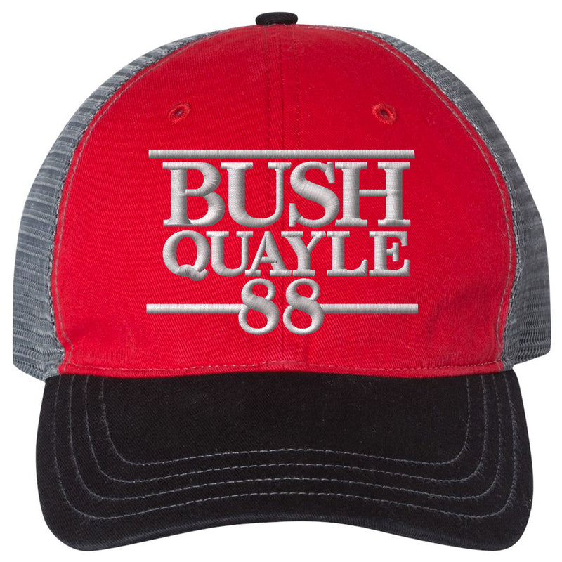 Embrace the Grunt Life and your inner Grunt Style with this patriotic united states of america military inspired mesh-back Bush Quayle 1988 conservative campaign hat