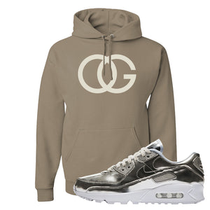 Air Max 90 WMNS 'Medal Pack' Chrome Sneaker Khaki Pullover Hoodie | Hoodie to match Nike Air Max 90 WMNS 'Medal Pack' Chrome Shoes | OG