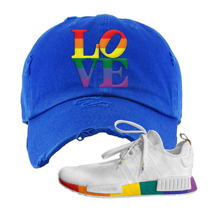 NMD R1 Pride Distressed Dad Hat | Royal, Love Park