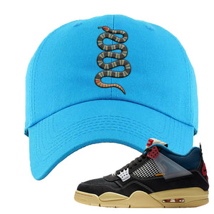 Union LA x Air Jordan 4 Off Noir Dad hat | Coiled Snake, Blue Aqua