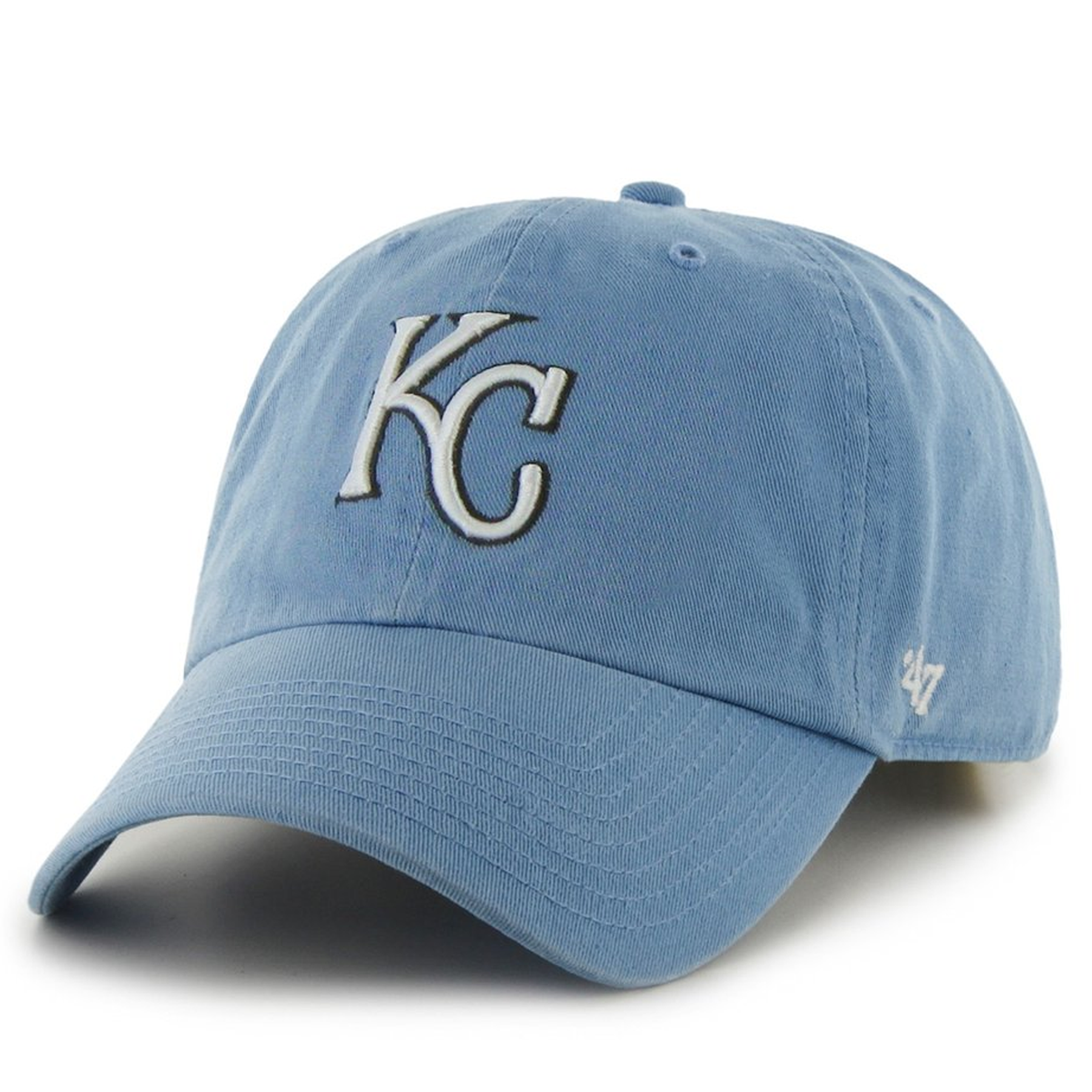 cheap for discount ecdd1 31ff1 on the front of the kansas city royals light blue adjustable dad hat is the  kc