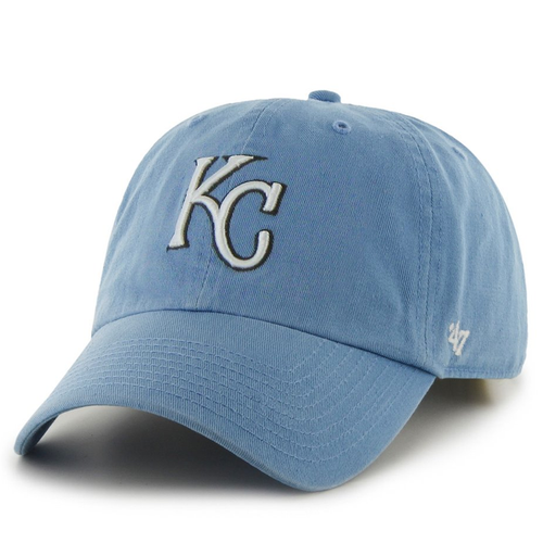 on the front of the kansas city royals light blue adjustable dad hat is the kc royals logo embroidered in white and black