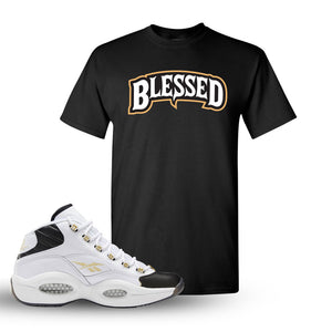 Question Mid Black Toe Sneaker Black T Shirt | Tees to match Reebok Question Mid Black Toe Shoes | Blessed Arch
