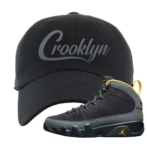 Air Jordan 9 Charcoal University Gold Dad Hat | Crooklyn, Black