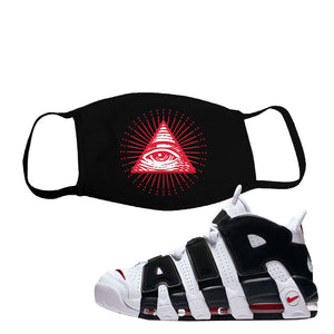 Air More Uptempo White Black Red Face Mask | Black, All Seeing Eye