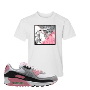 WMNS Air Max 90 Rose Pink Marble Mosaic White Kid's T-Shirt To Match Sneakers