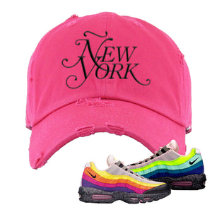 Airmax 95 '20 For 20' Sneaker Pink Distressed Dad Hat | Hat to match Nike Airmax 95 '20 For 20' Shoes | Ã'ew York