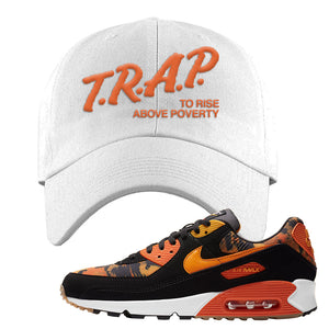 Air Max 90 Orange Camo Dad Hat | Trap To Rise Above Poverty, White