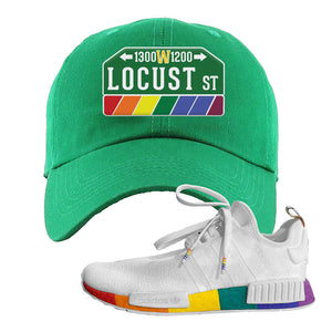 NMD R1 Pride Dad Hat | Kelly Green, Locust Street Sign
