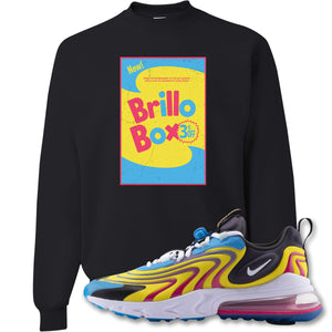 Brillo Box Black Crewneck Sweatshirt to match Air Max 270 React ENG Laser Blue Sneakers