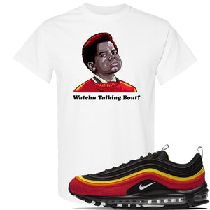 Air Max 97 Black/Chile Red/Magma Orange/White Sneaker White T Shirt | Tees to match Nike Air Max 97 Black/Chile Red/Magma Orange/White Shoes | Watchu Talkin Bout