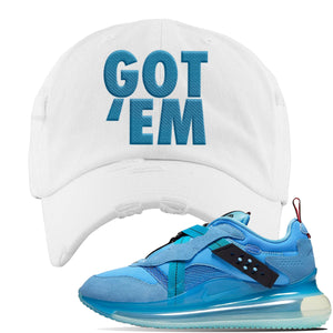 Air Max 720 OBJ Slip Light Blue Distressed Dad Hat | White, Got Em