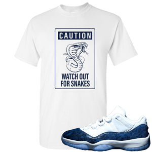Jordan 11 Low Blue Snakeskin Caution of Snake White T-Shirt