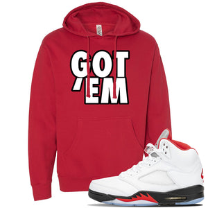 Air Jordan 5 OG Fire Red Hoodie | Red, Got Em