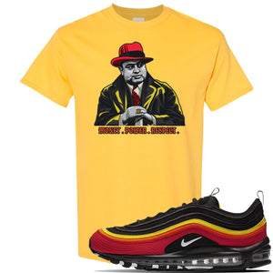 Air Max 97 Black/Chile Red/Magma Orange/White Sneaker Daisy T Shirt | Tees to match Nike Air Max 97 Black/Chile Red/Magma Orange/White Shoes | Capone Illustration
