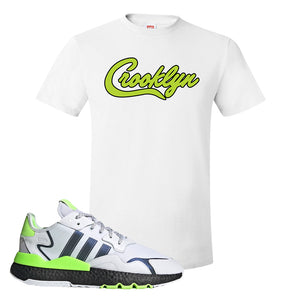 Nite Jogger Signal Green T Shirt | White, Crooklyn