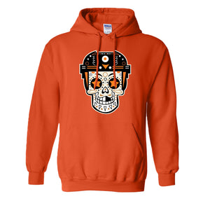 Broad Street Bullies Skull Pullover Hoodie | Broad Street Bullies Candy Skull Orange Pull Over Hoodie the front of this hoodie has the bullies skull logo