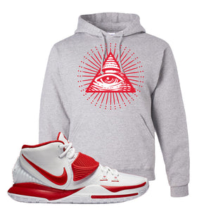 Kyrie 6 White University Red Hoodie | All Seeing Eye, Ash