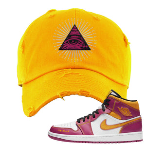 Air Jordan 1 Mid Familia Distressed Dad Hat | All Seeing Eye, Gold