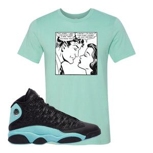 Fake Love Heather Mint T-Shirt To Match Jordan 13 Island Green Sneakers