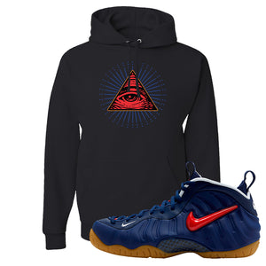 Air Foamposite Pro USA Hoodie | Black, All Seeing Eye