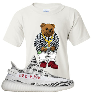 Yeezy Boost 350 V2 Zebra Biggie Bear White Sneaker Hook Up Kid's T-Shirt