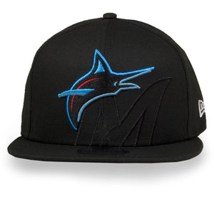 Miami Marlins XL Logo Element 9Fifty Black New Era Snapback Hat