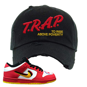 Nike Dunk Low Vietnam 25th Anniversary Distressed Dad Hat | Trap To Rise Above Poverty, Black
