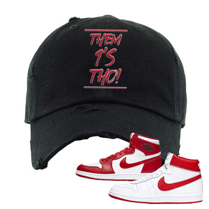Jordan 1 New Beginnings Pack Sneaker Black Distressed Dad Hat | Hat to match Nike Air Jordan 1 New Beginnings Pack Shoes | Them 1's Tho