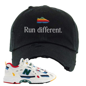 Aime Leon Dore X New Balance 827 Abzorb Multicolor 'White' Distressed Dad Hat | Black, Run Different