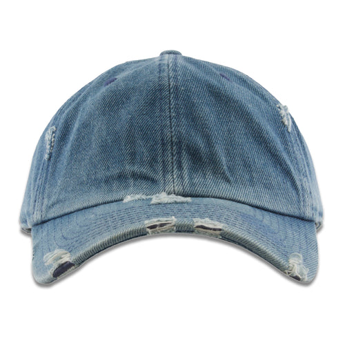 The blank denim distressed baseball cap has an unstructured soft crown and a bent brim