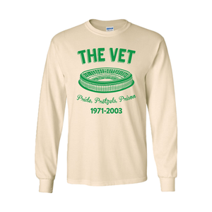The Vet Pride, Pretzels, Prison Long Sleeve T-Shirt | Veterans Stadium Natural Longsleeve Tee Shirt the front of this long sleeve has the vet stadium