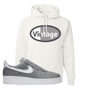 Air Force 1 Low Wolf Grey White Hoodie | White, Vintage Oval