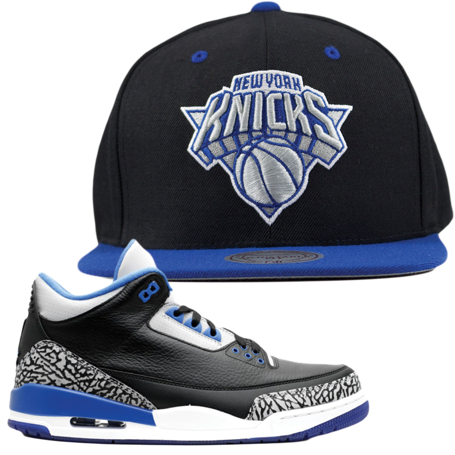timeless design 2f154 c491e Jordan 3 Sport Blue Sneaker Matching New York Knicks Strapback Hat