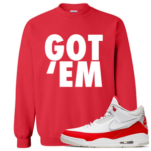 This red sweater will match great with your Jordan 3 Tinker Air Max shoes