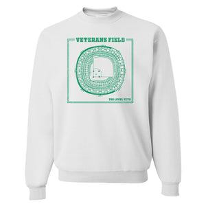 The Vet Seating Chart Crewneck Sweatshirt | Veterans Stadium Seating Chart White Crew Neck Sweatshirt the front of this crewneck has the vet seating chart